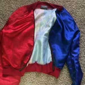 red and blue Harley Quinn jacket